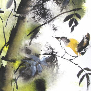 Yellow Bird - Aquarell - 28x38 cm.