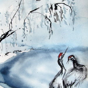 Kraniche im Winter - Aquarell - 23x41 cm.